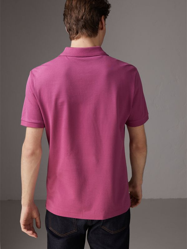 Cotton Piqué Polo Shirt in Pink Azalea - Men | Burberry - cell image 2