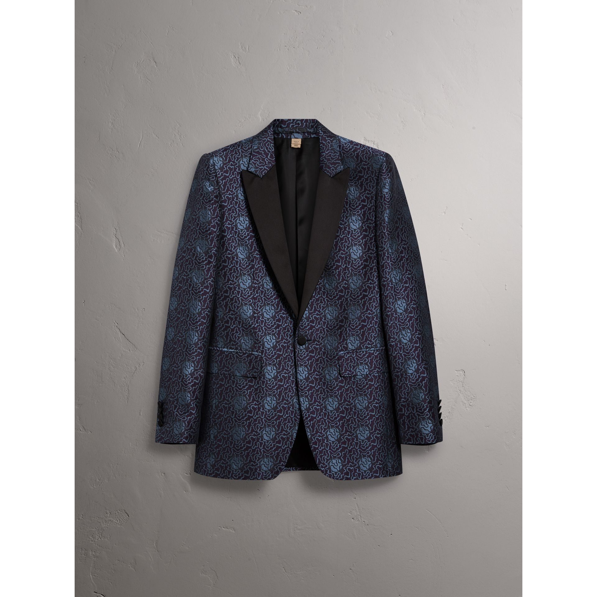 Slim Fit Swirl Silk Cotton Jacquard Evening Jacket in Steel Blue - Men | Burberry - gallery image 3