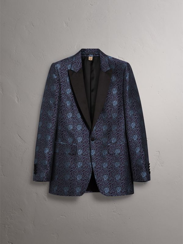 Slim Fit Swirl Silk Cotton Jacquard Evening Jacket in Steel Blue - Men | Burberry - cell image 3