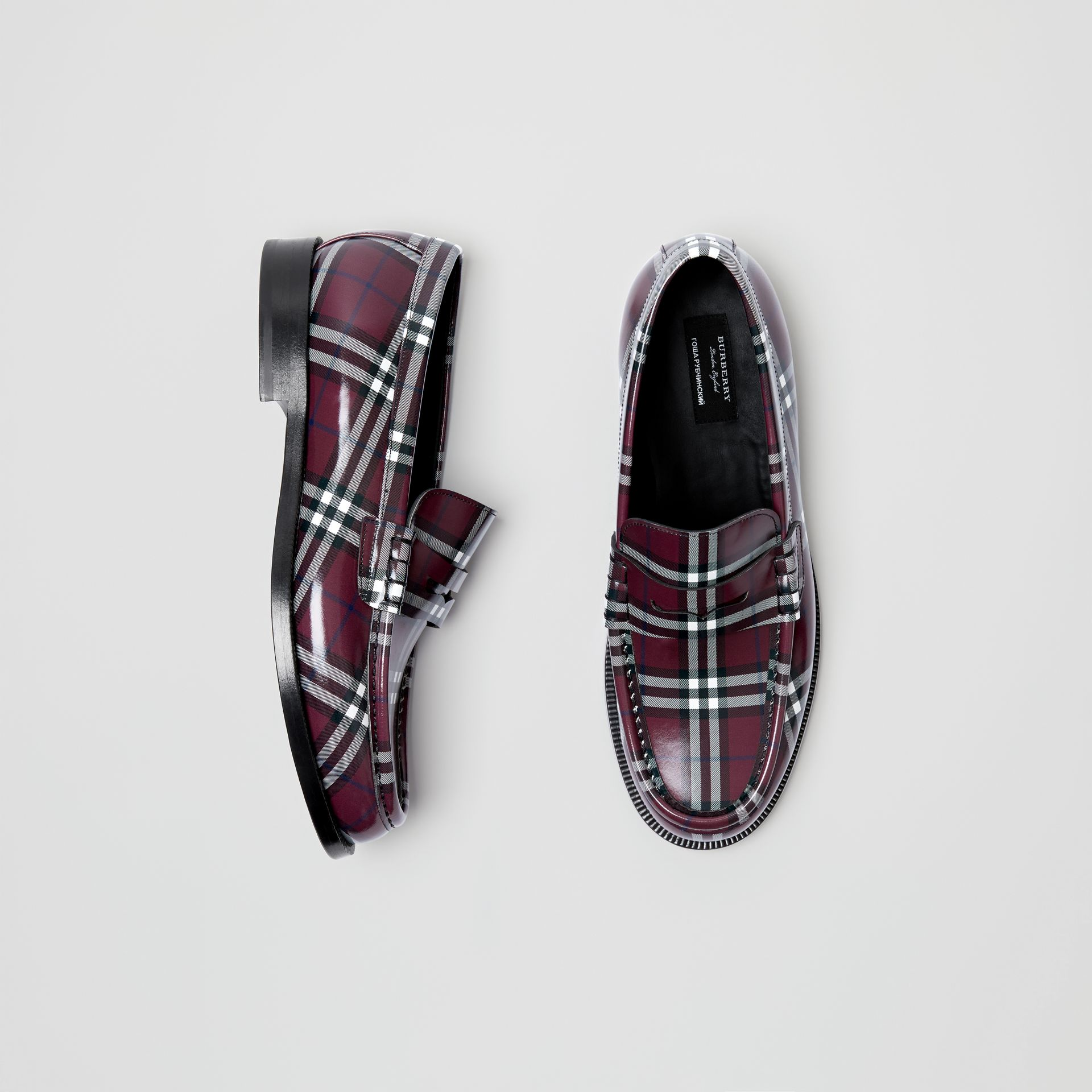 Gosha x Burberry Check Leather Loafers in Claret - Men | Burberry - gallery image 0