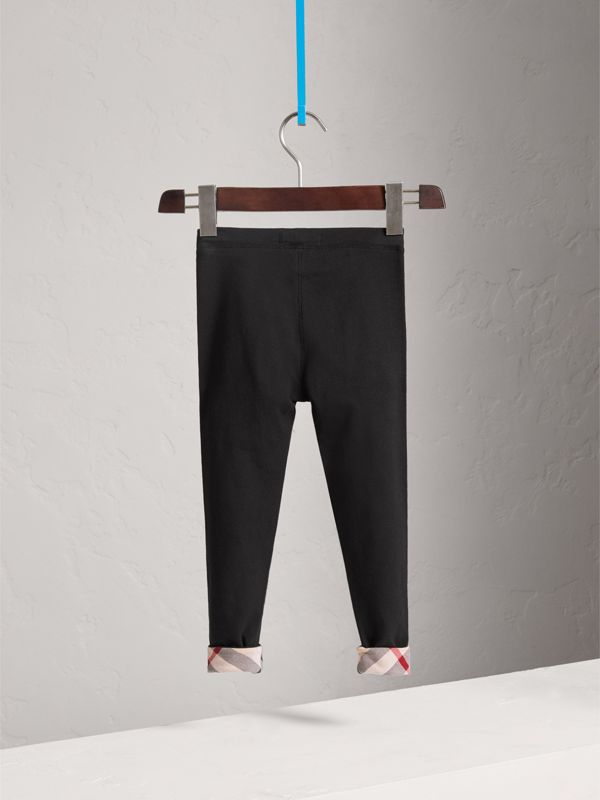 Stretch Cotton Leggings in Black - Girl | Burberry - cell image 3