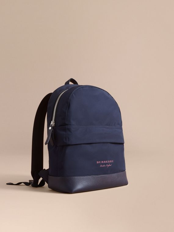 Leather Trim Lightweight Backpack in Ink