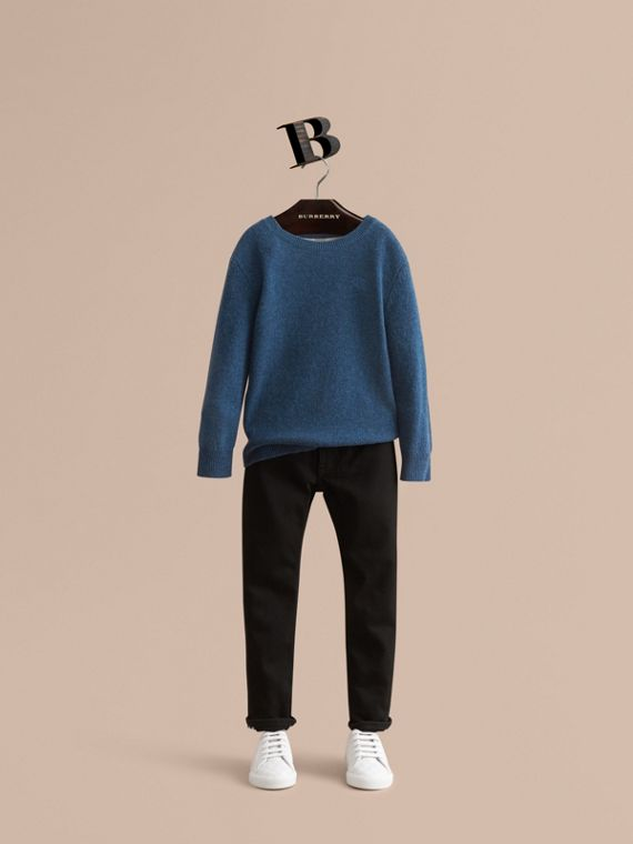 Check Elbow Patch Cashmere Sweater in Mineral Blue Melange