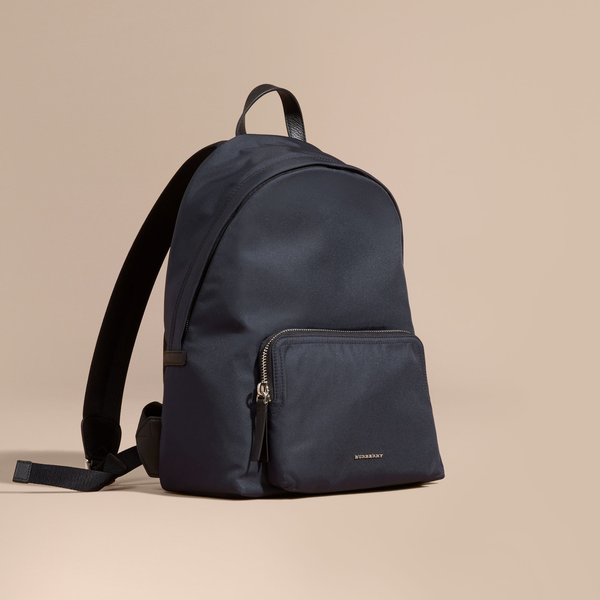 Dark navy Leather Trim Nylon Backpack - gallery image 1