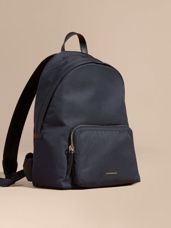 Leather Trim Nylon Backpack Dark Navy
