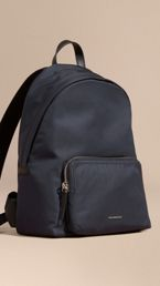 Leather Trim Nylon Backpack