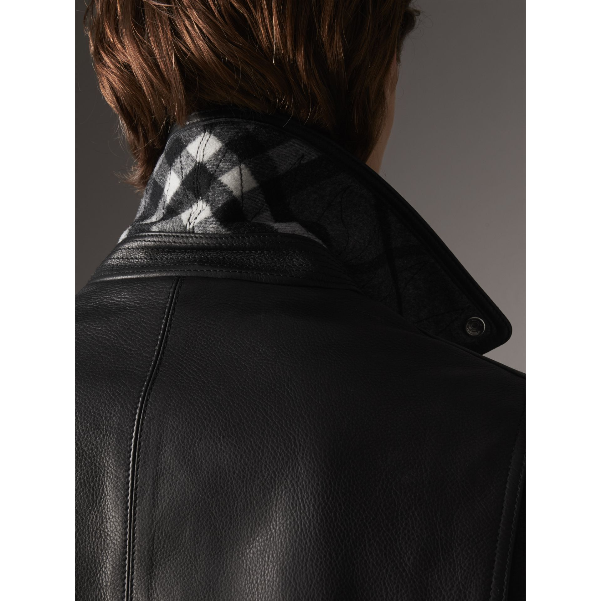 Leather Biker Jacket in Black - Men | Burberry - gallery image 4