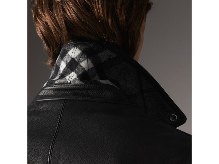 Clean-lined Leather Biker Jacket - Men | Burberry - cell image 4