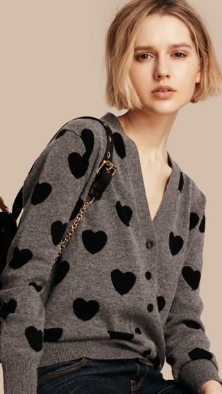 Heart Intarsia Merino Wool Cardigan