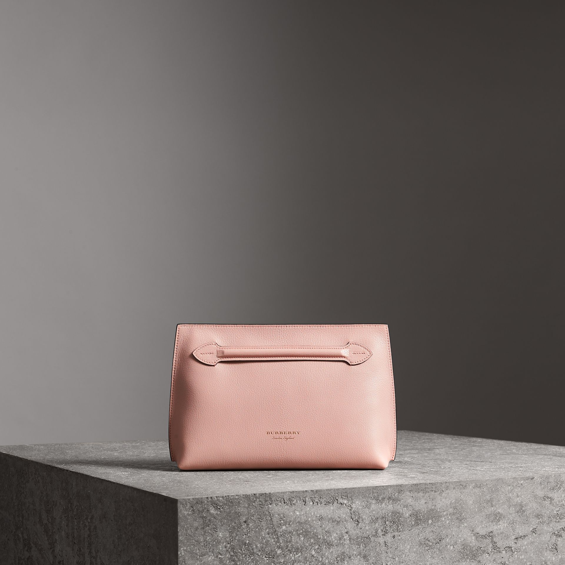 Grainy Leather Wristlet Clutch in Pale Ash Rose - Women | Burberry - gallery image 0