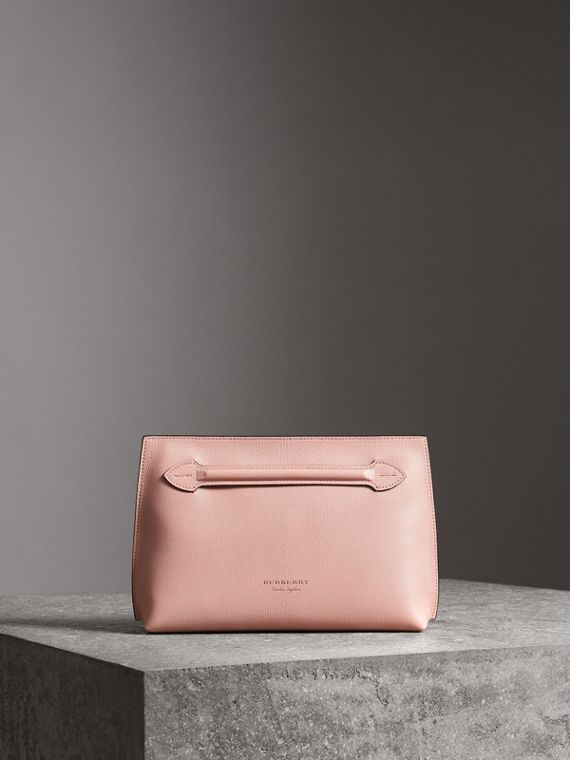 Grainy Leather Wristlet Clutch in Pale Ash Rose