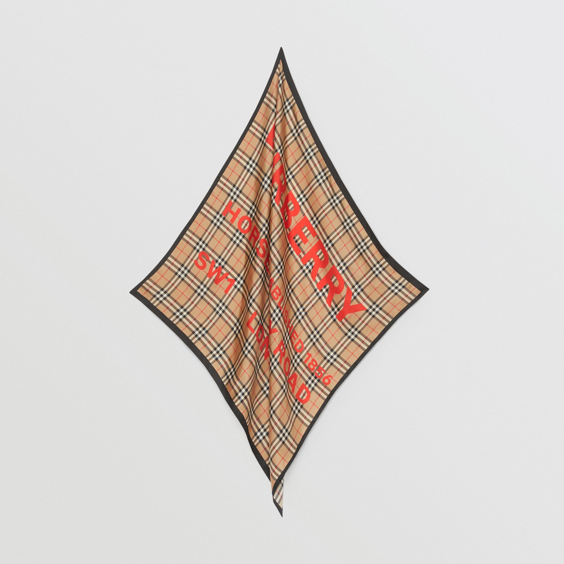 Horseferry Print Vintage Check Silk Square Scarf in Archive Beige | Burberry - gallery image 4
