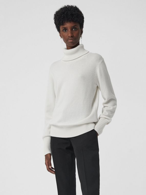 Embroidered Crest Cashmere Roll-neck Sweater in White