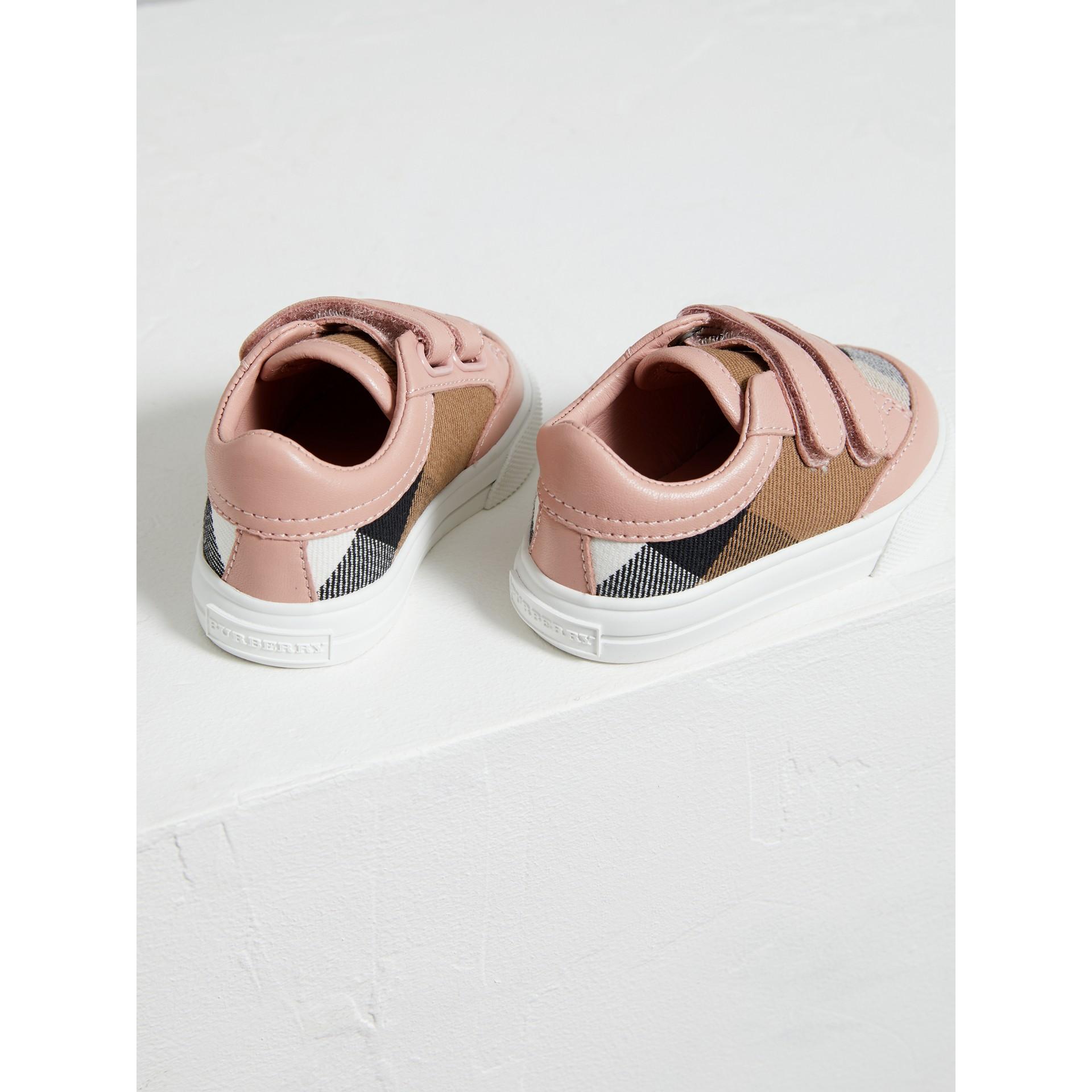 Кеды из кожи и парусины в клетку Canvas Check (Розовый Пион, Меланж) - Для детей | Burberry - изображение 3