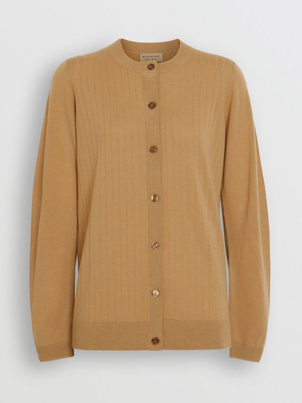Rib Knit Cashmere Cardigan in Camel - Women | Burberry Hong Kong - cell image 3