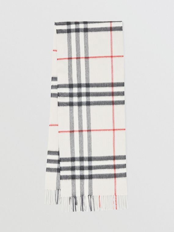 Sciarpa classica in cashmere con motivo tartan (Pietra)