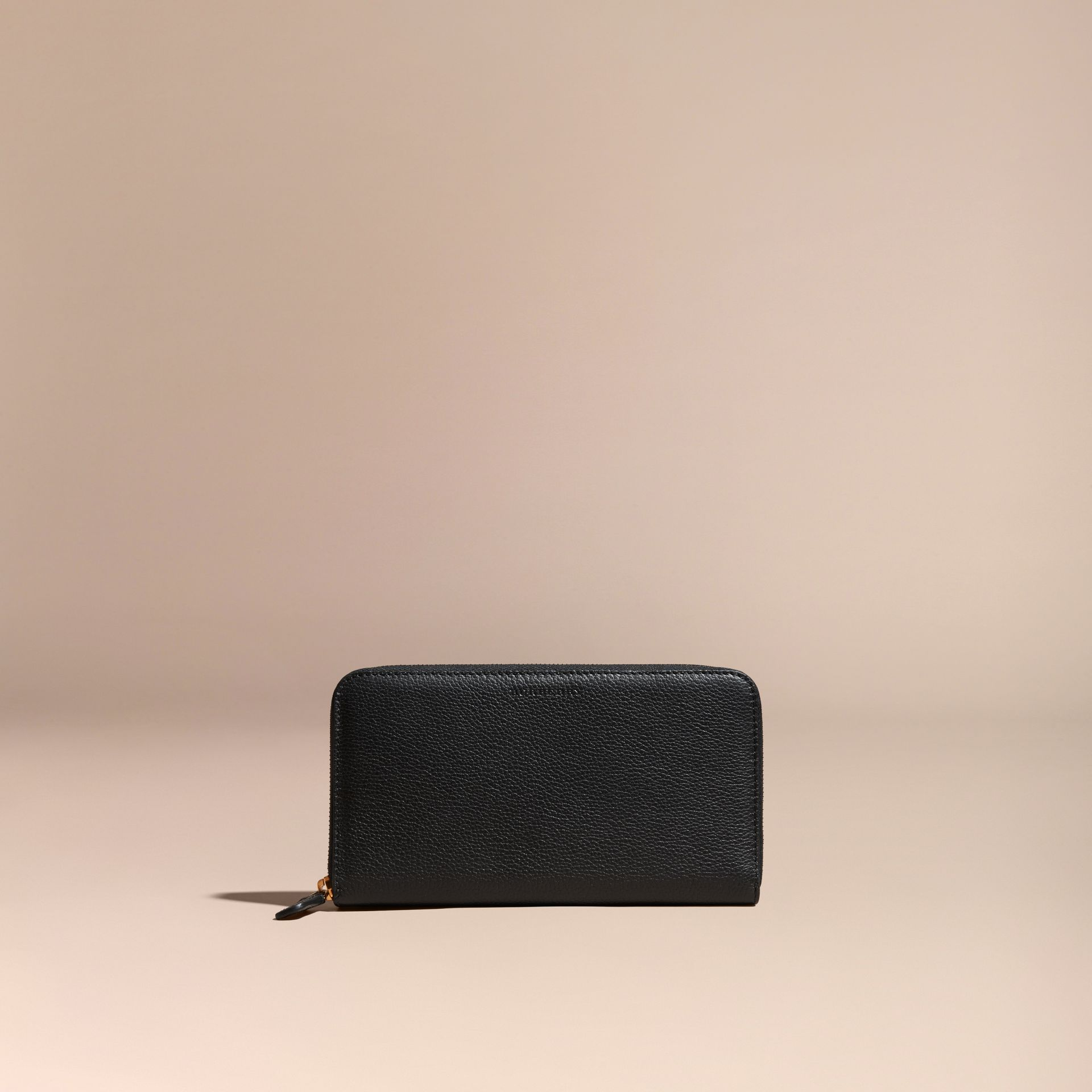 Black Grainy Leather Ziparound Wallet Black - gallery image 6