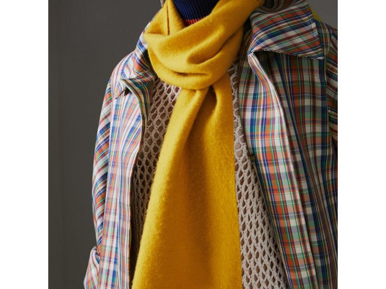 Embroidered Felted Wool Scarf in Saffron | Burberry - cell image 4