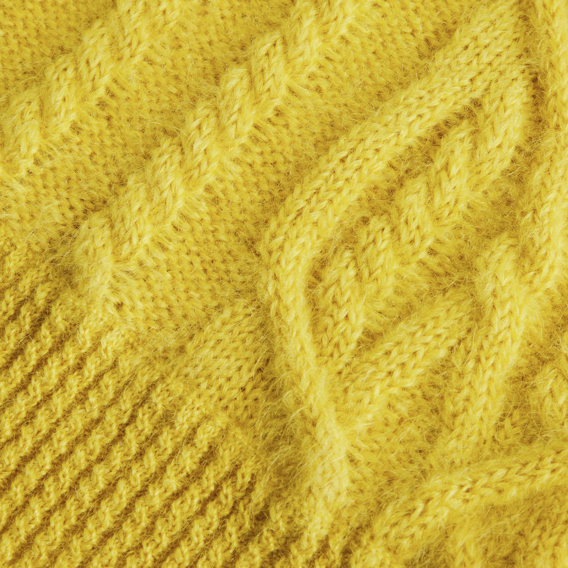 Cable Knit Mohair Wool Sweater in Bright Yellow | Burberry - gallery image 1