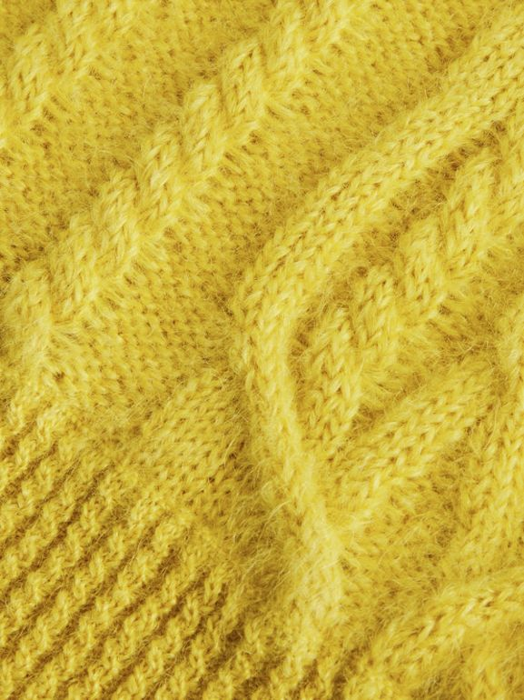 Cable Knit Mohair Wool Sweater in Bright Yellow | Burberry United Kingdom - cell image 1