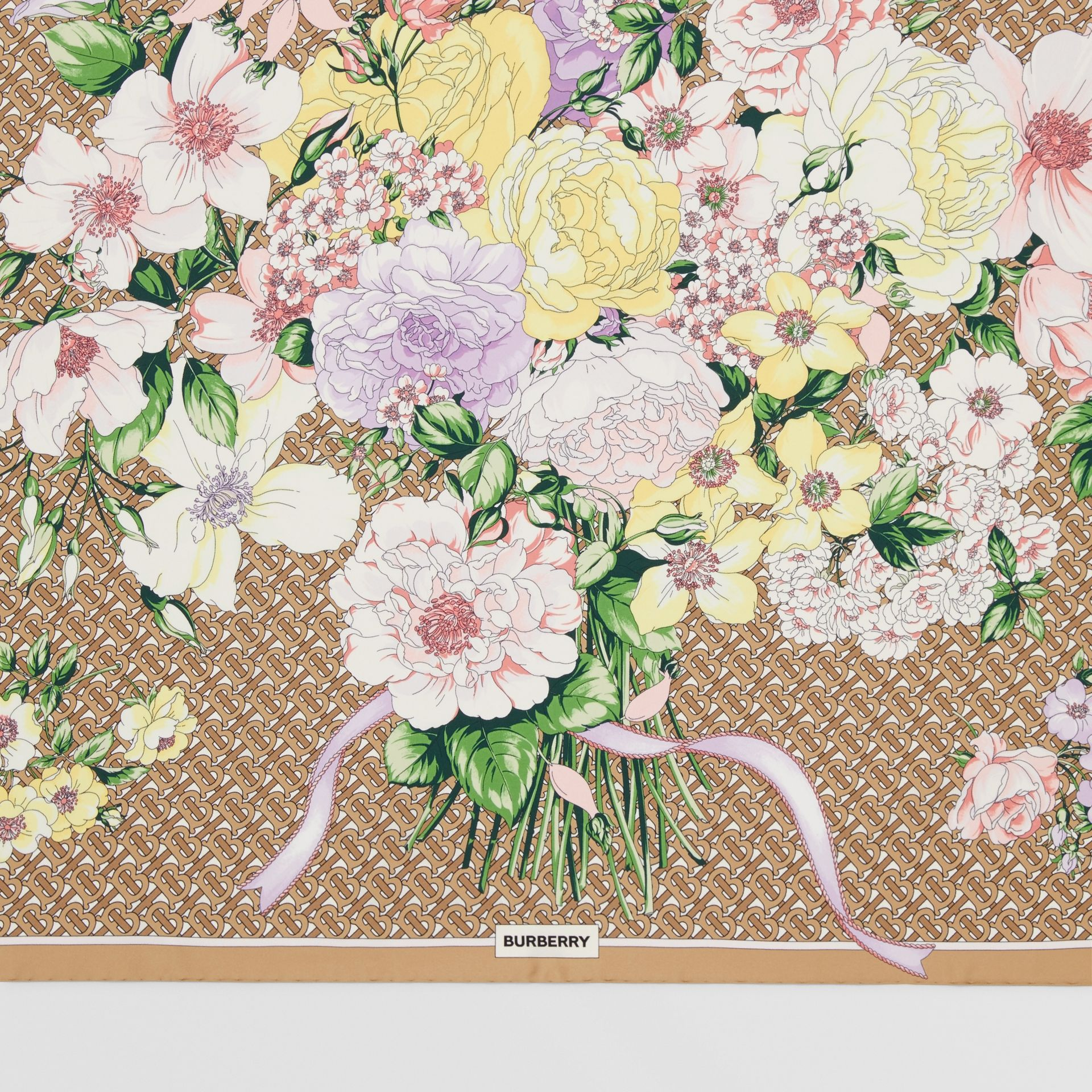 Floral and Monogram Print Silk Square Scarf in Archive Beige | Burberry - gallery image 1
