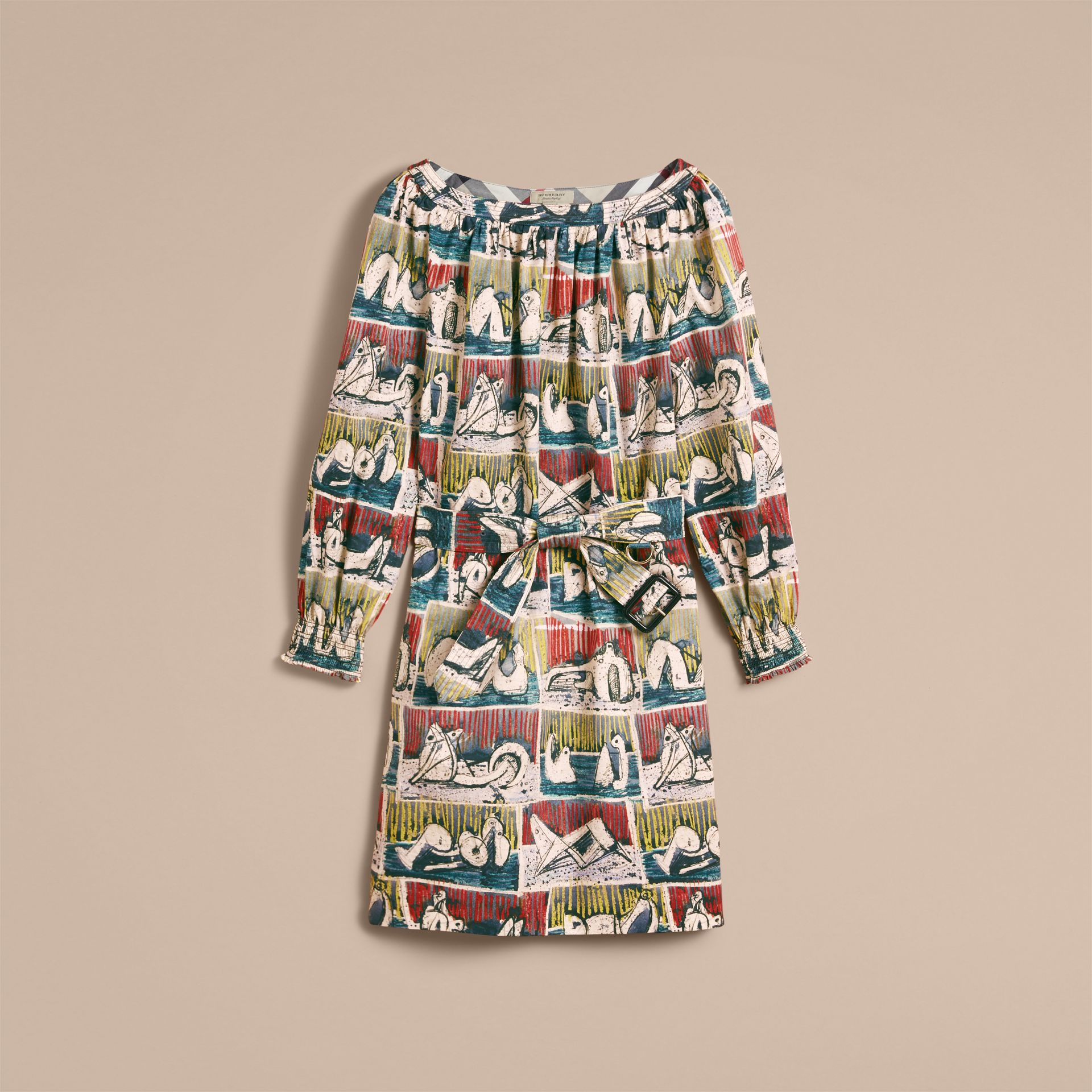 Reclining Figures Print Cotton Tunic Dress in Stone Blue - Women | Burberry United Kingdom - gallery image 4