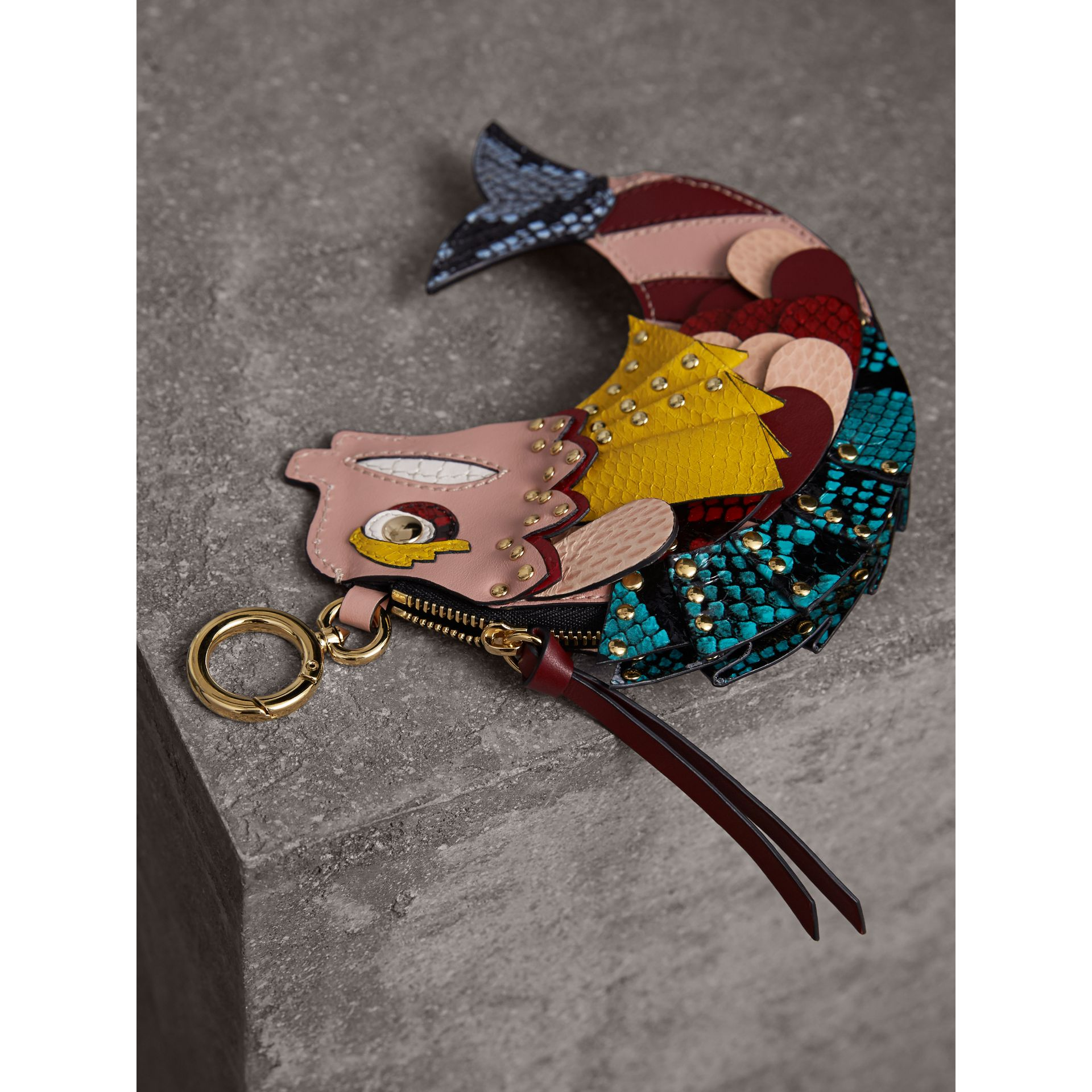 The Fish - Portamonete in pelle e pelle di serpente (Rosa Floreale) - Donna | Burberry - immagine della galleria 3