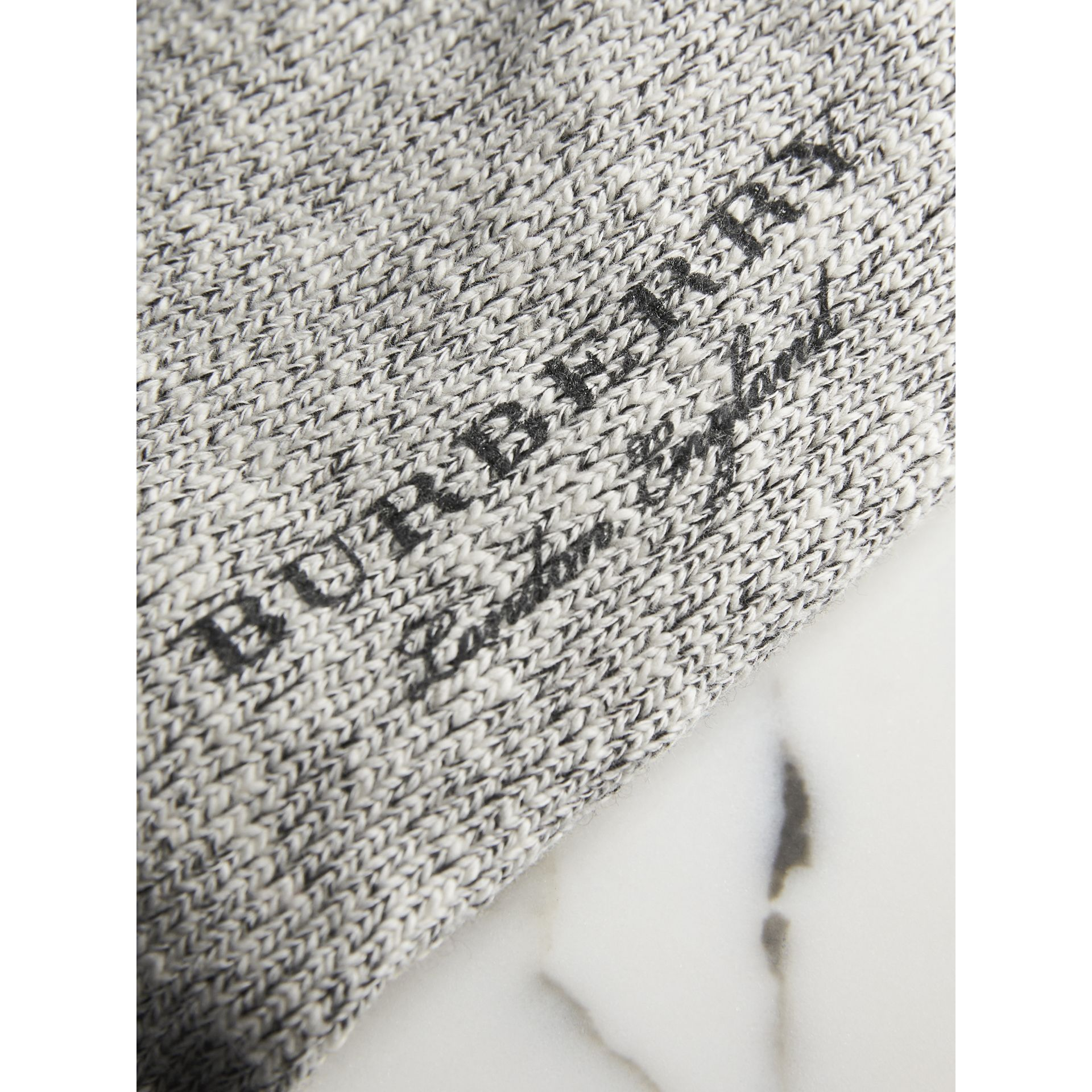 Diamond Knitted Cotton Mouliné Socks in Black | Burberry - gallery image 2