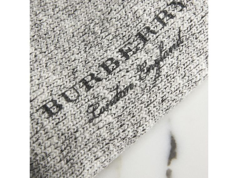 Diamond Knitted Cotton Mouliné Socks in Black | Burberry - cell image 1