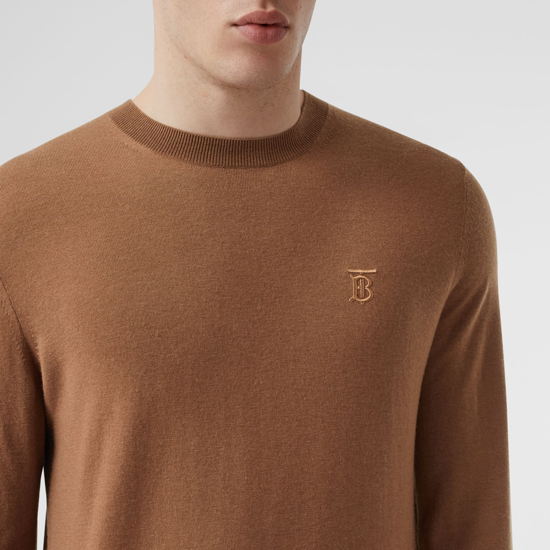 Monogram Motif Cashmere Sweater in Maple - Men | Burberry - gallery image 1