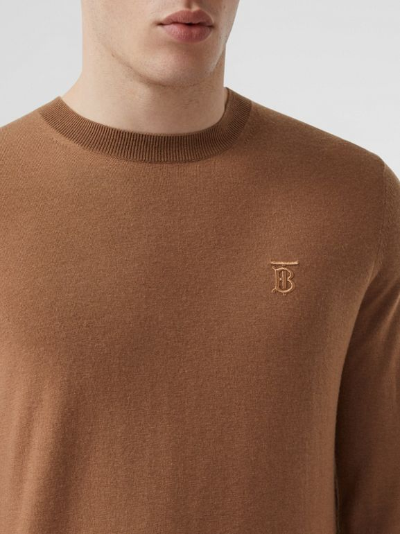 Monogram Motif Cashmere Sweater in Maple - Men | Burberry - cell image 1
