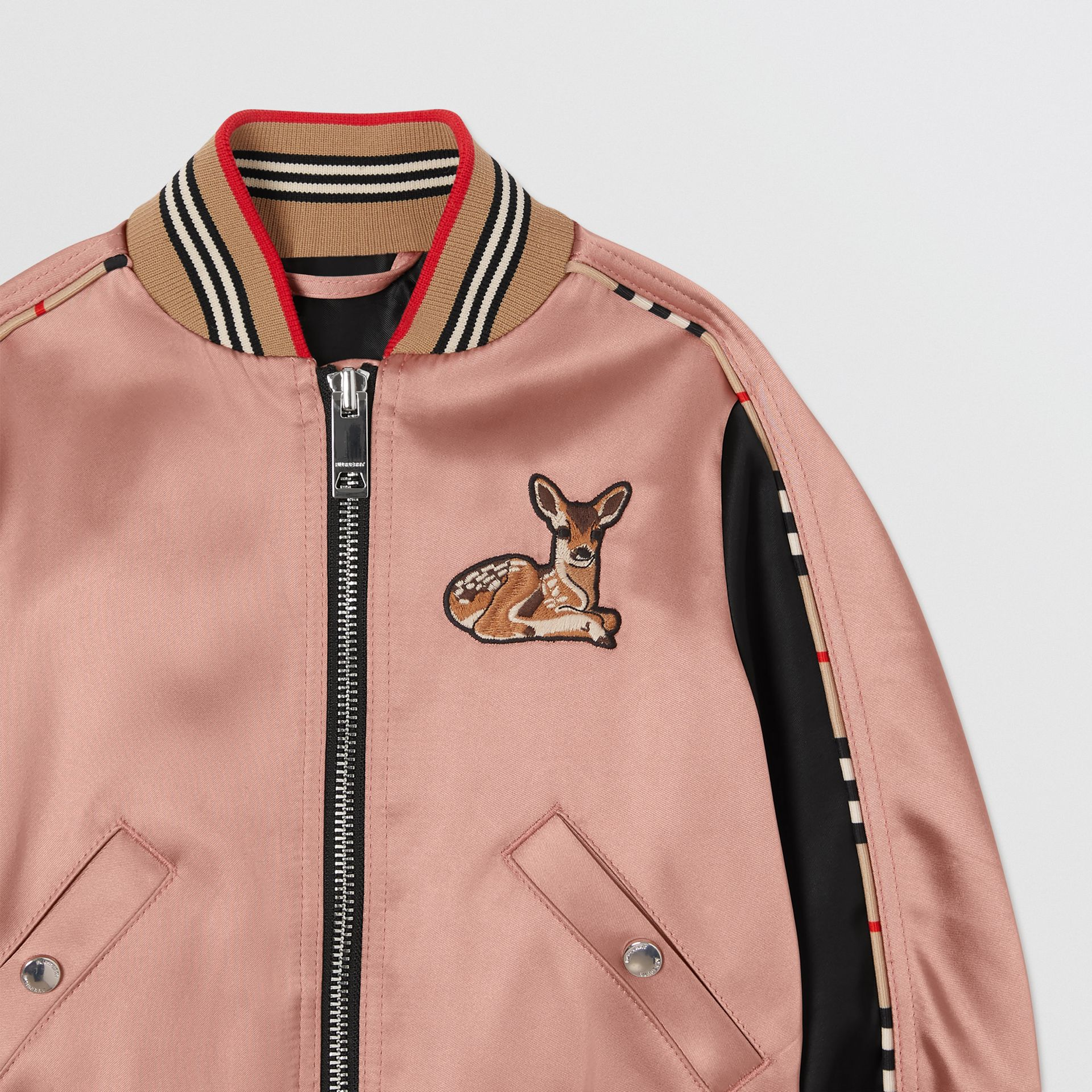 Deer Motif Sateen Bomber Jacket in Dusty Pink - Children | Burberry United Kingdom - gallery image 4