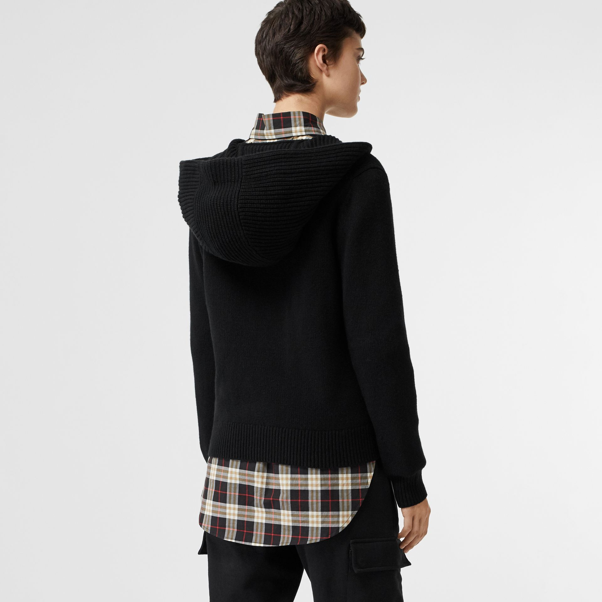 Embroidered Crest Cashmere Hooded Top in Black - Women | Burberry - gallery image 2