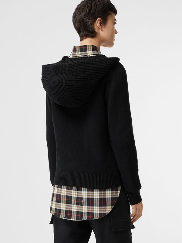 Embroidered Crest Cashmere Hooded Top in Black - Women | Burberry Australia - cell image 2