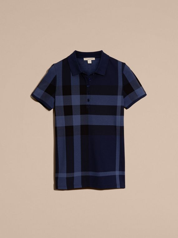 Mid indigo Check Stretch Cotton Piqué Polo Shirt Mid Indigo - cell image 3