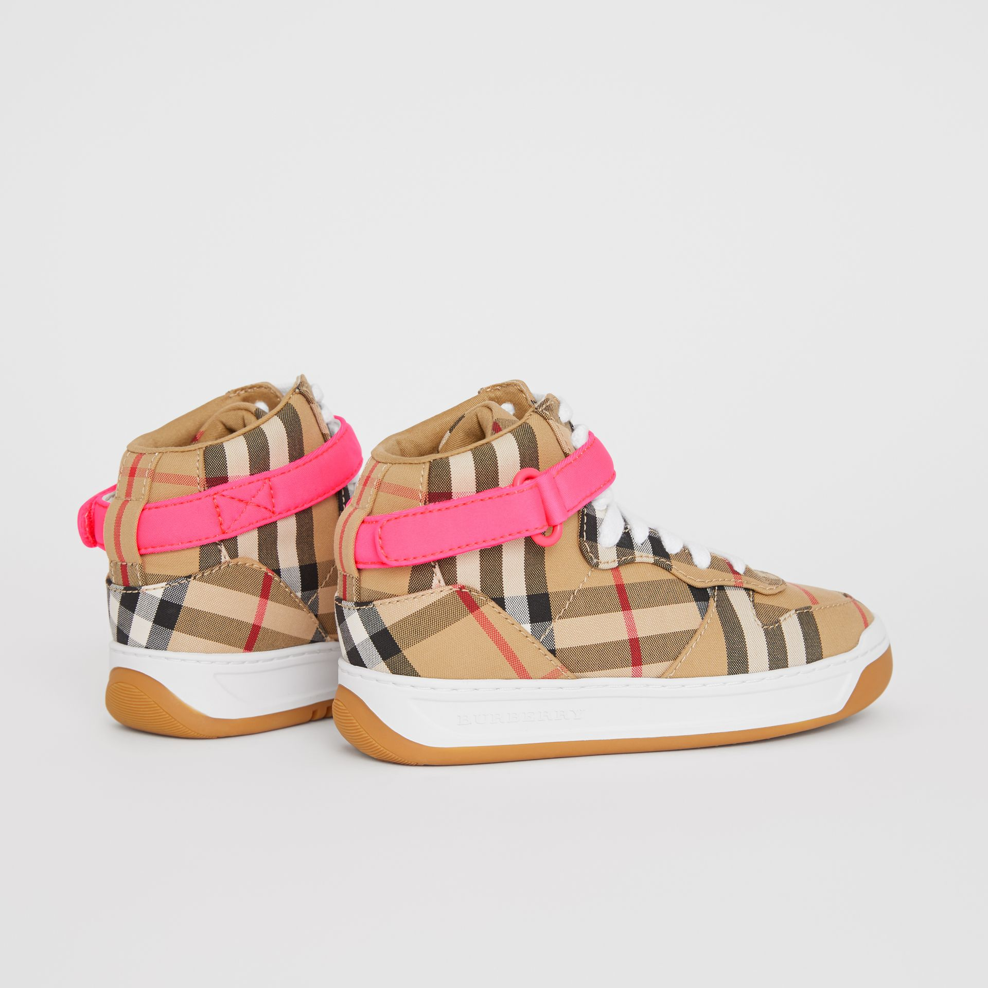 Vintage Check High-top Sneakers in Antique Yellow/neon Pink | Burberry - gallery image 2