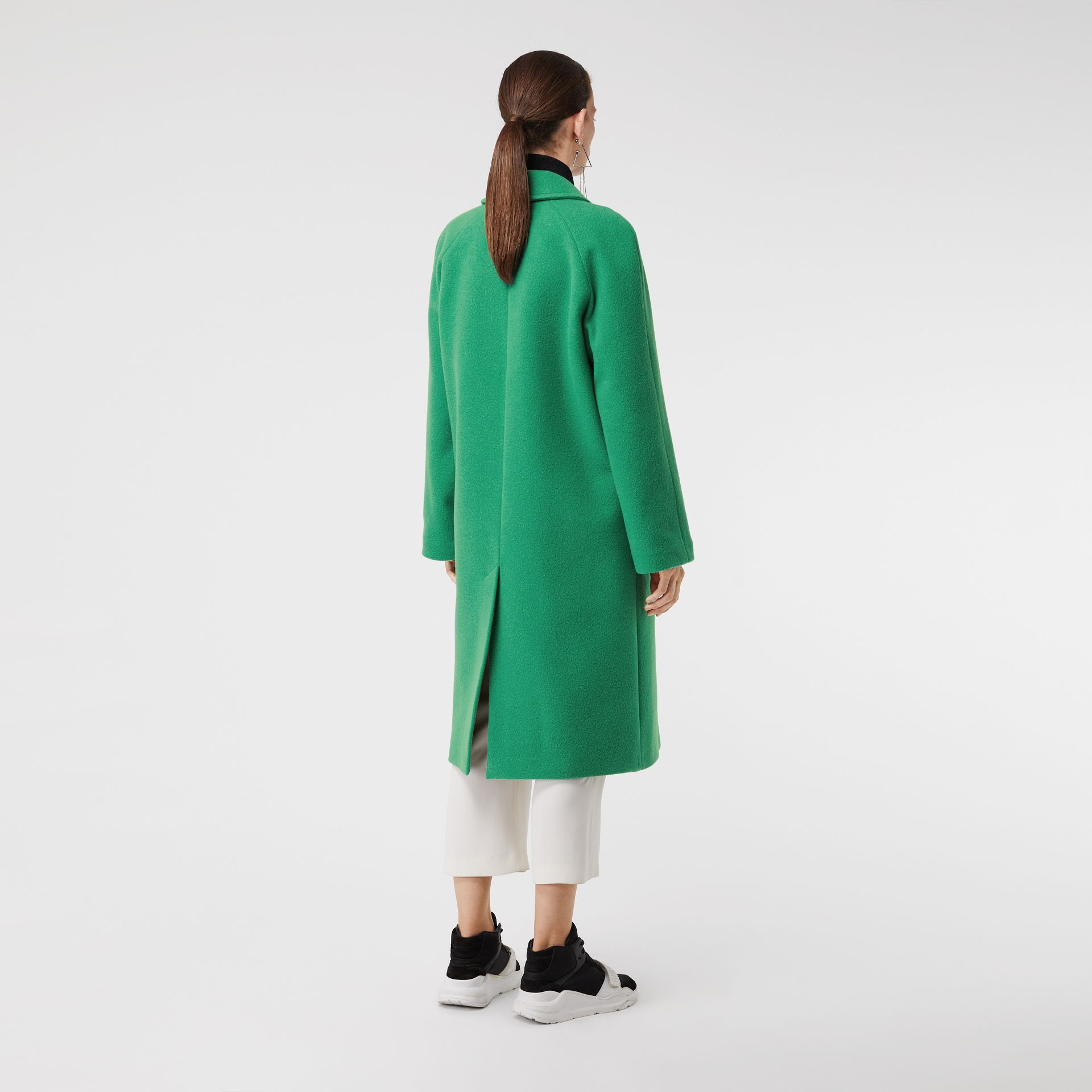 Wool Blend Tailored Coat in Bright Green - Women | Burberry United Kingdom - gallery image 2