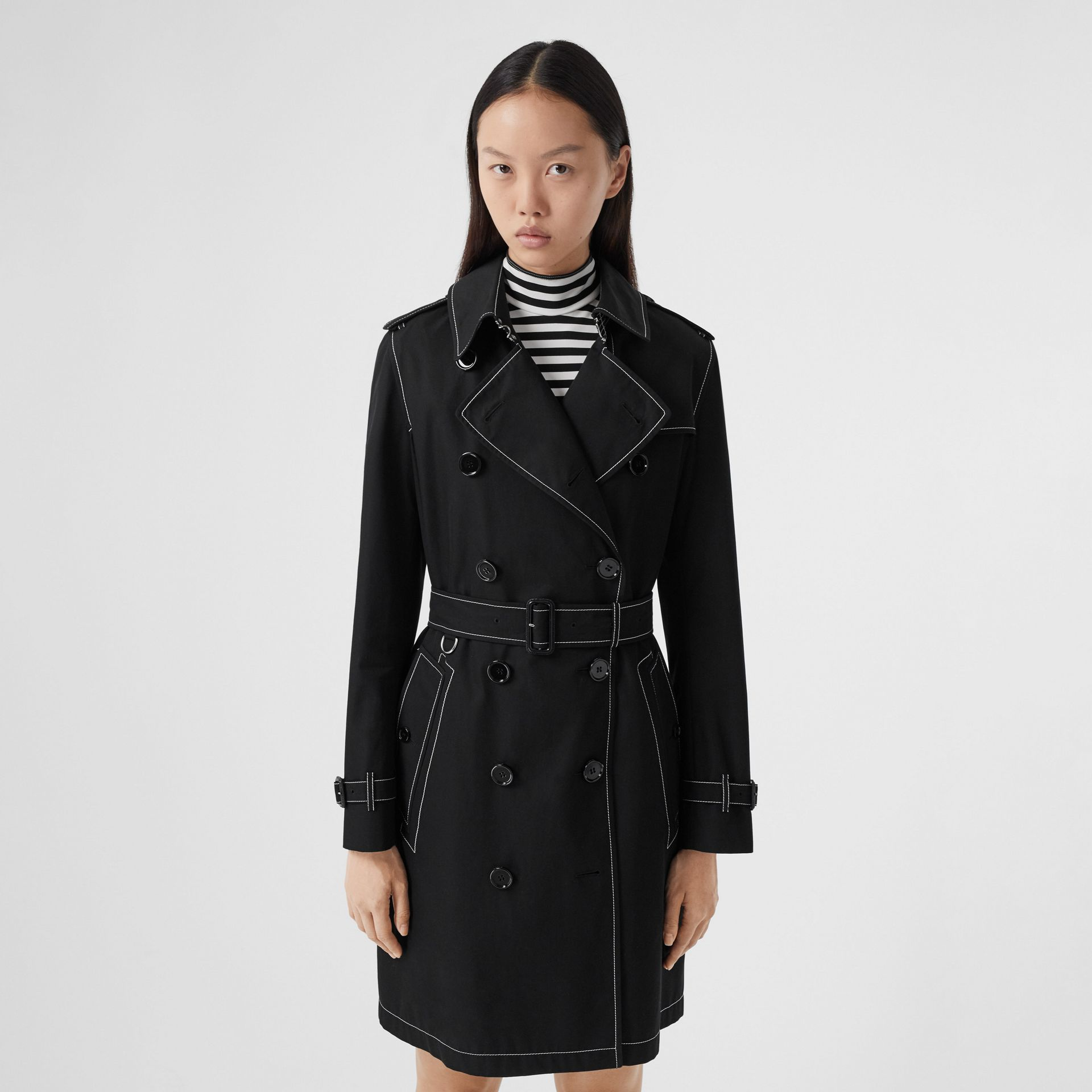 Topstitched Tropical Gabardine Trench Coat in Black - Women | Burberry Australia - gallery image 0