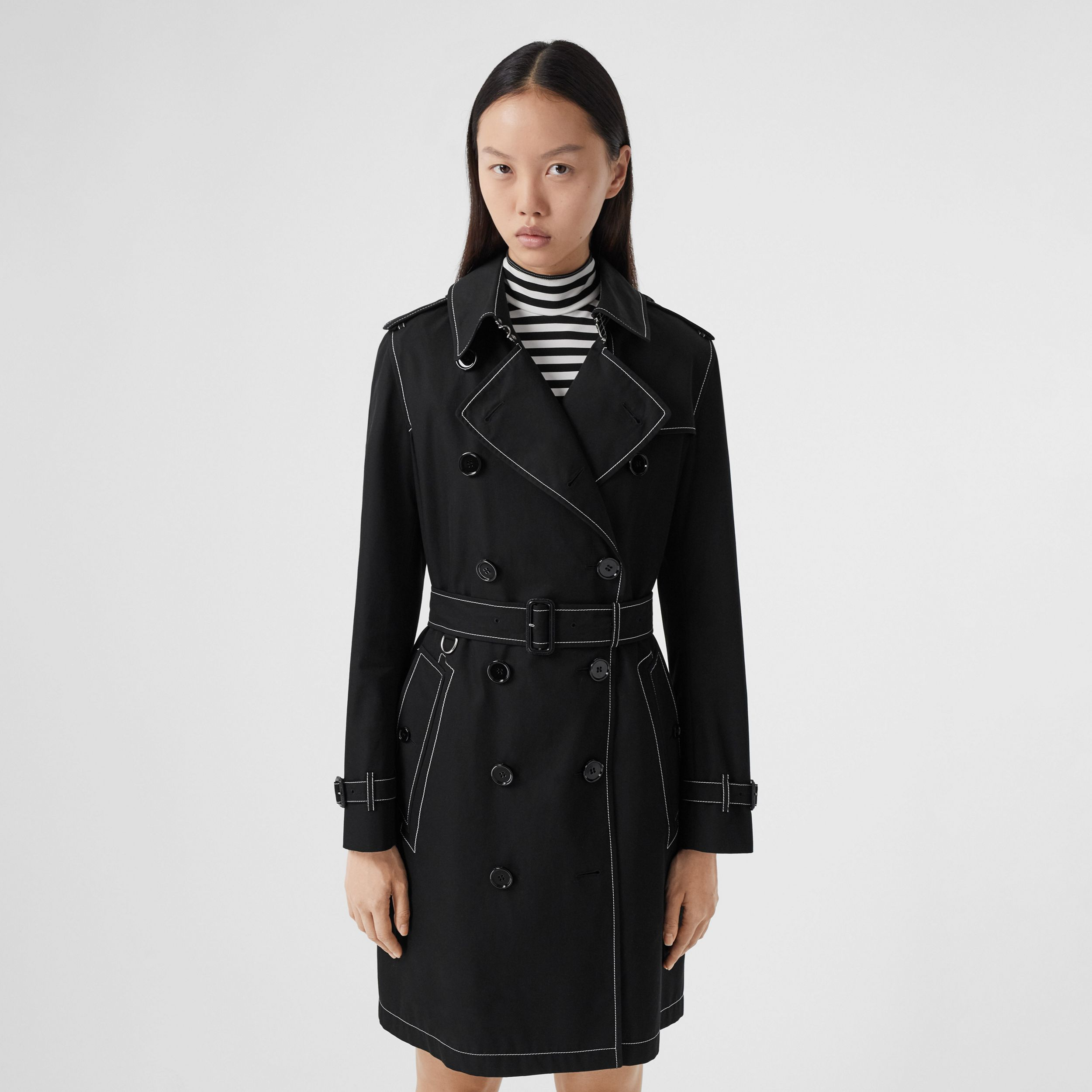 Topstitched Tropical Gabardine Trench Coat in Black - Women | Burberry - 1