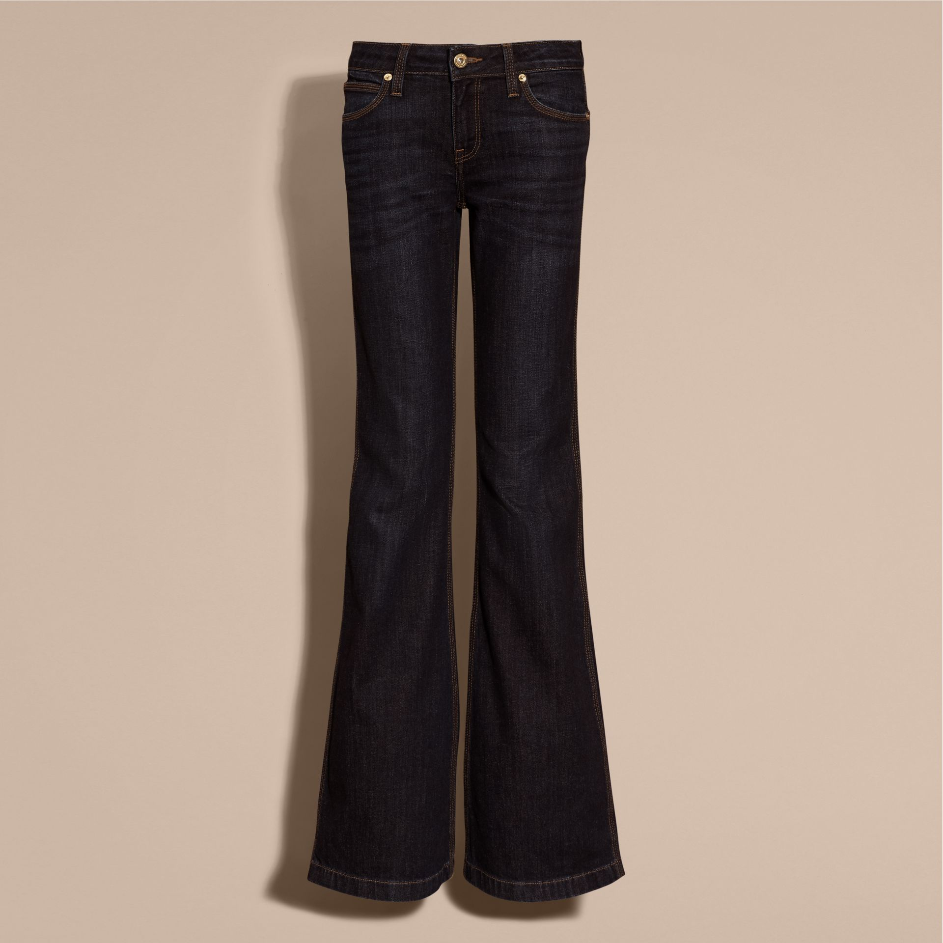 Mid indigo Flared Stretch Denim Jeans - gallery image 4