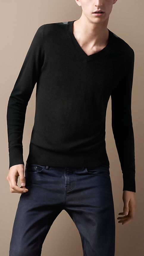 Black Check Detail Cotton Cashmere Sweater - Image 1