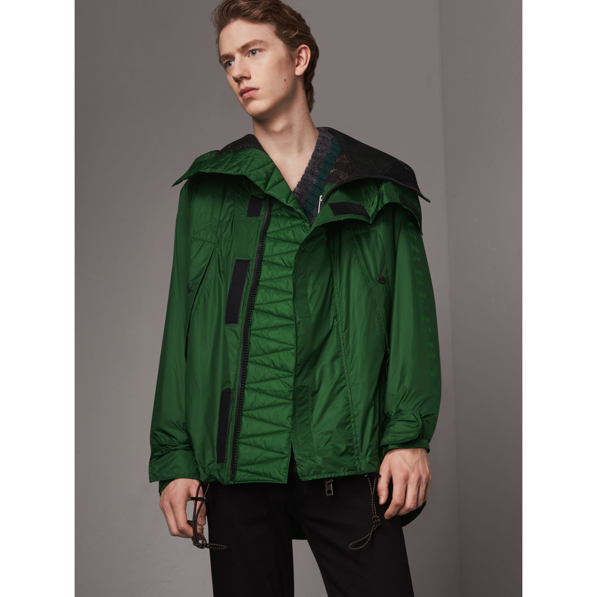Lightweight Hooded Jacket in Pigment Green - Men | Burberry United States - gallery image 5