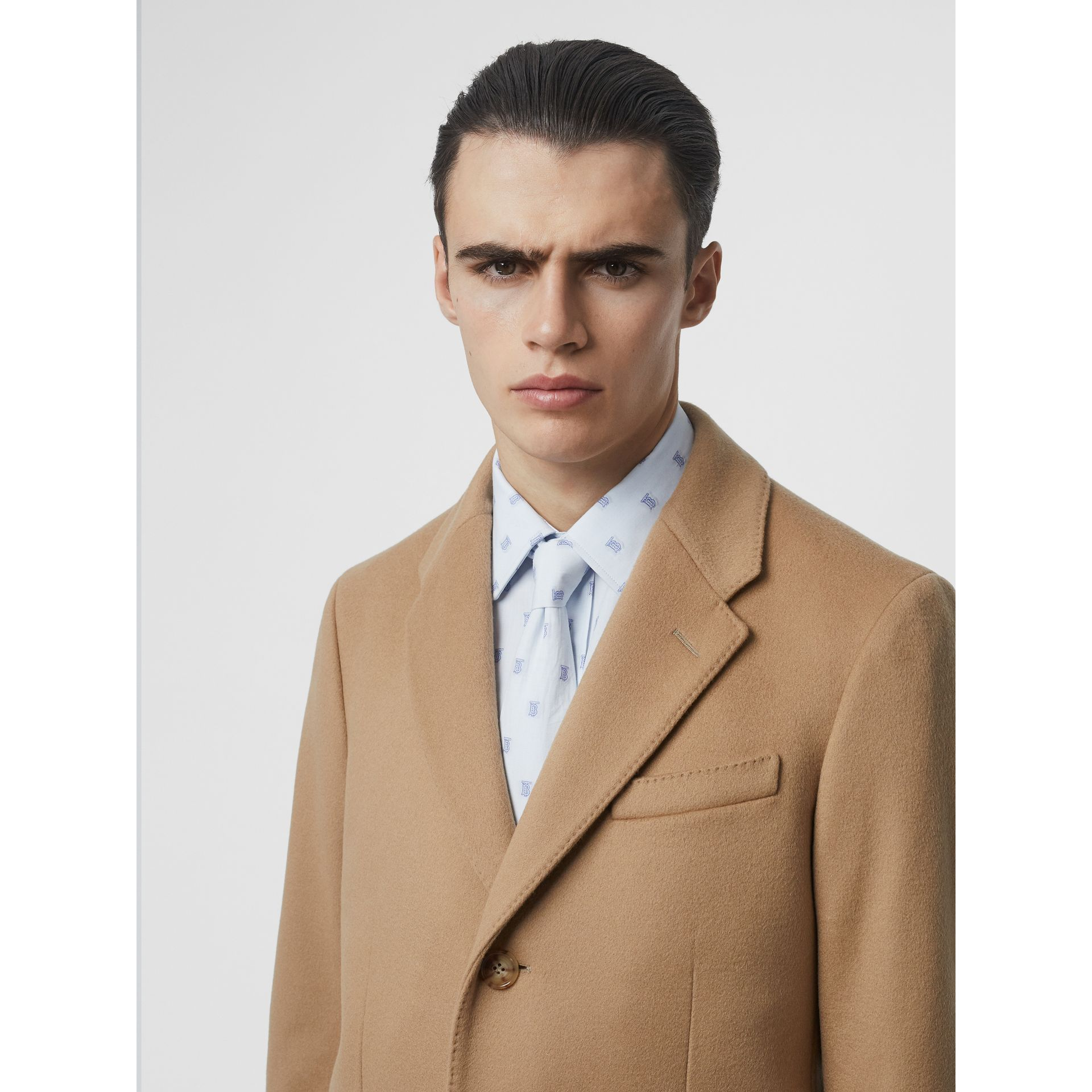 Wool Cashmere Tailored Coat in Camel - Men | Burberry Singapore - gallery image 5
