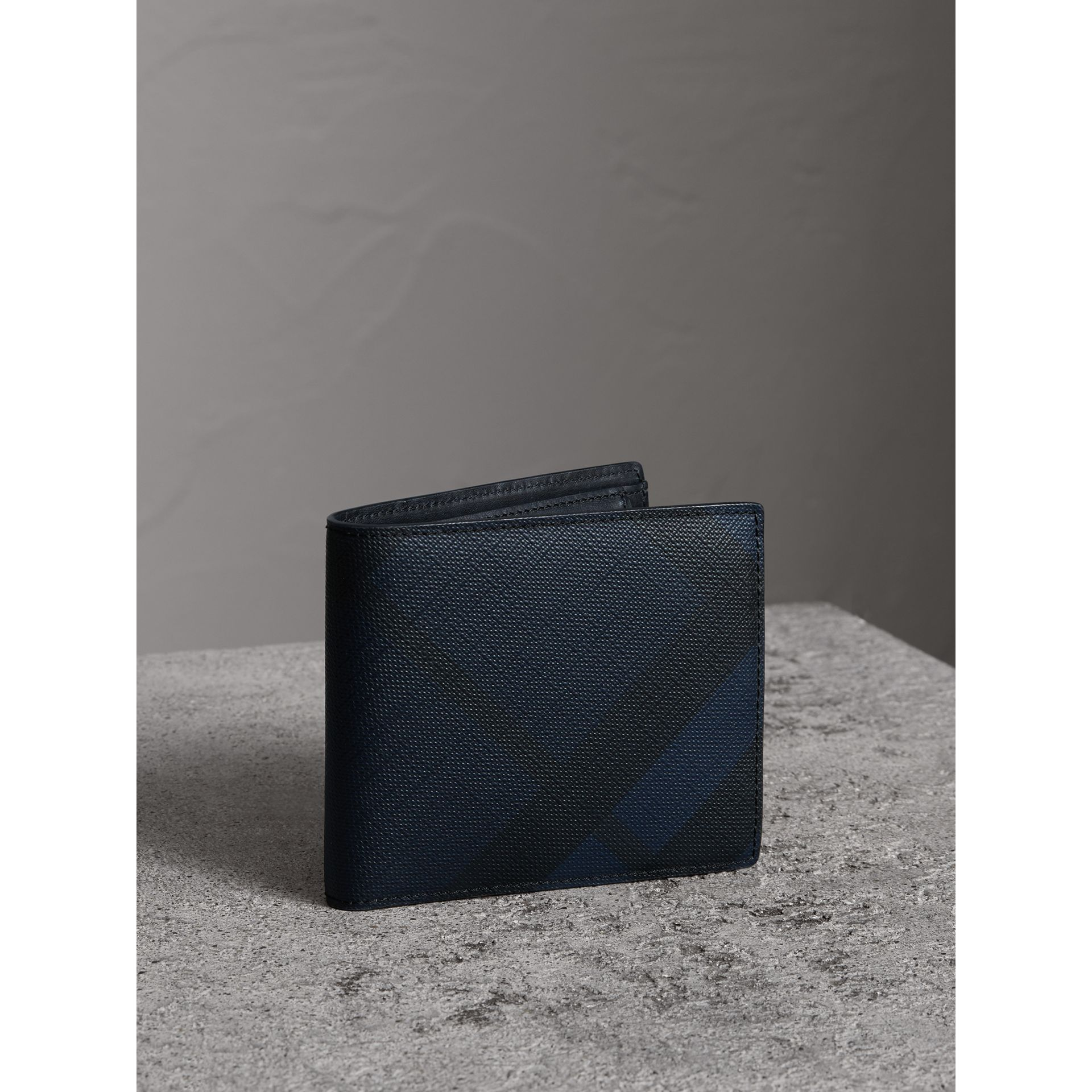 London Check International Bifold Coin Wallet in Navy/black - Men | Burberry Canada - gallery image 0