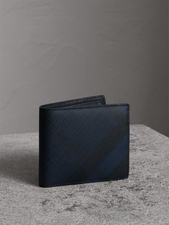 Porta-moedas dobrável em London Check - Internacional (Azul Marinho/preto)