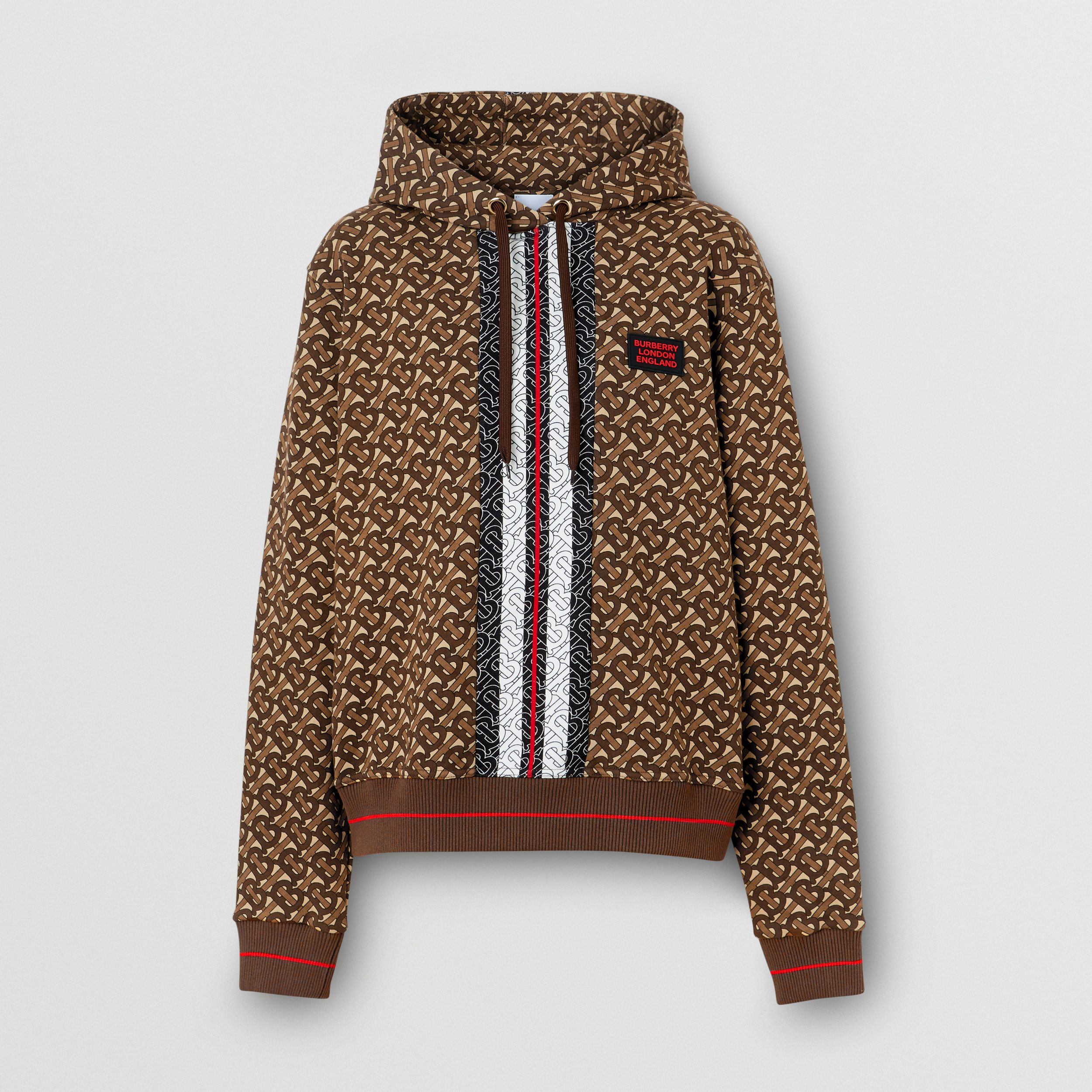 Monogram Stripe Print Cotton Oversized Hoodie in Bridle Brown - Women | Burberry - 4