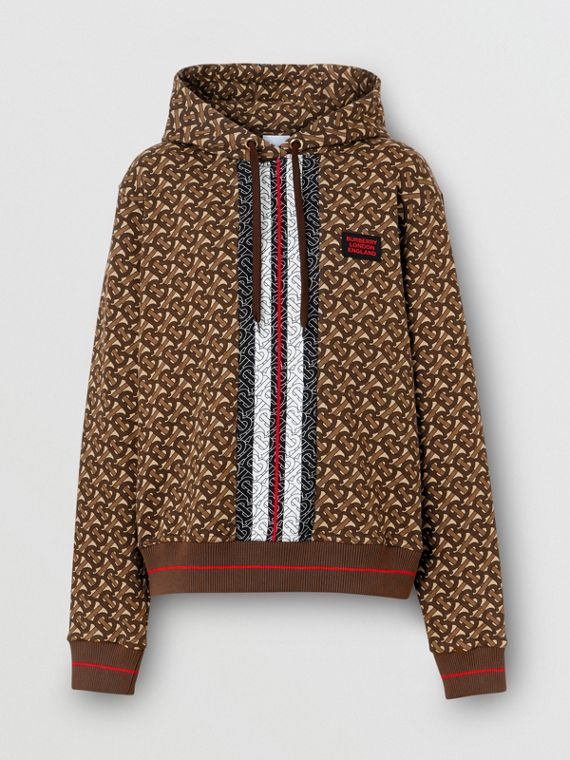 Monogram Stripe Print Cotton Oversized Hoodie in Bridle Brown