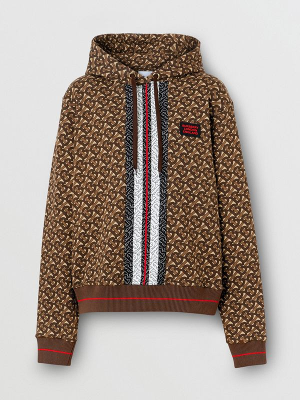 Monogram Stripe Print Cotton Oversized Hoodie in Bridle Brown - Women | Burberry - cell image 3