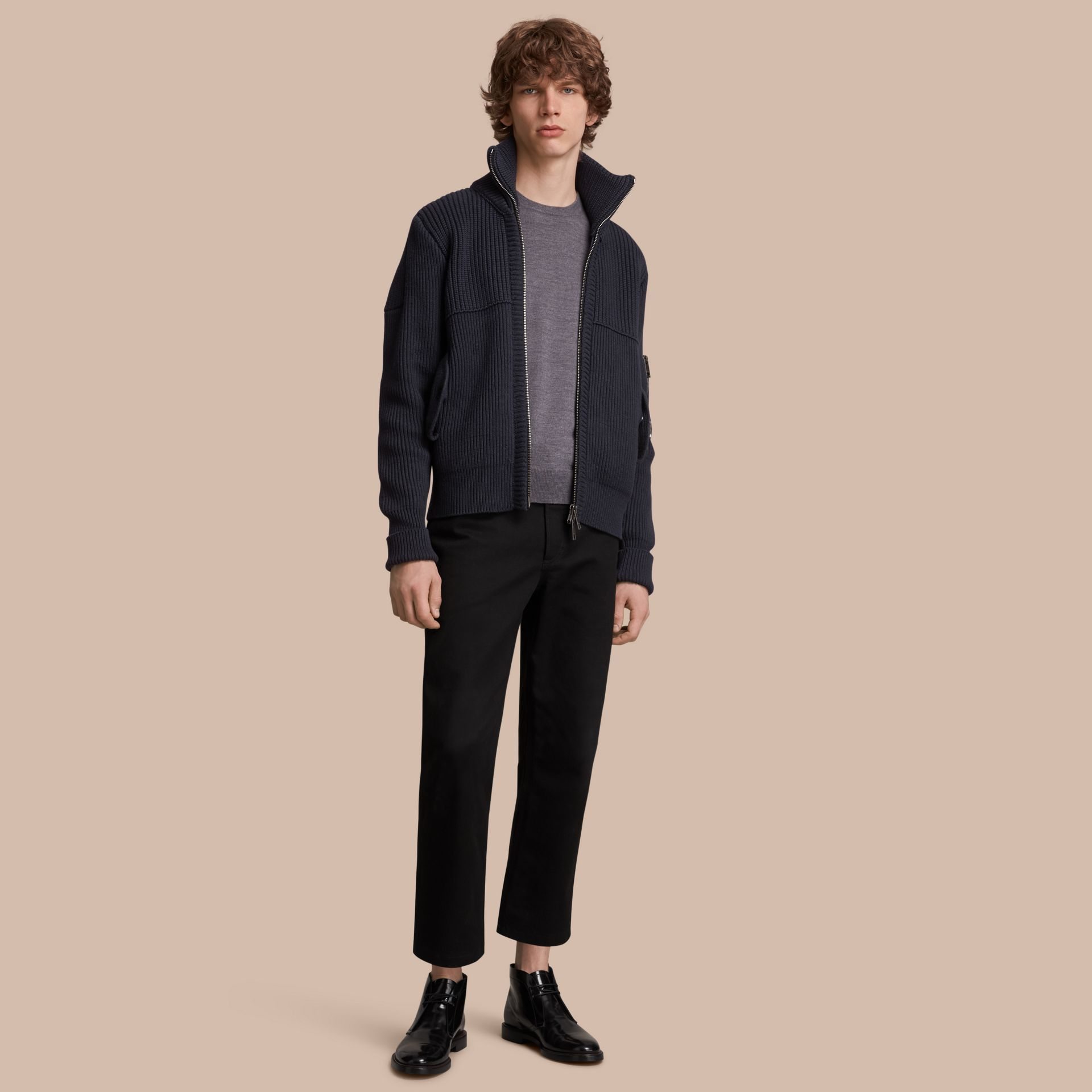 Knitted Cotton Cashmere Flight Jacket in Navy - Men | Burberry Australia - gallery image 1