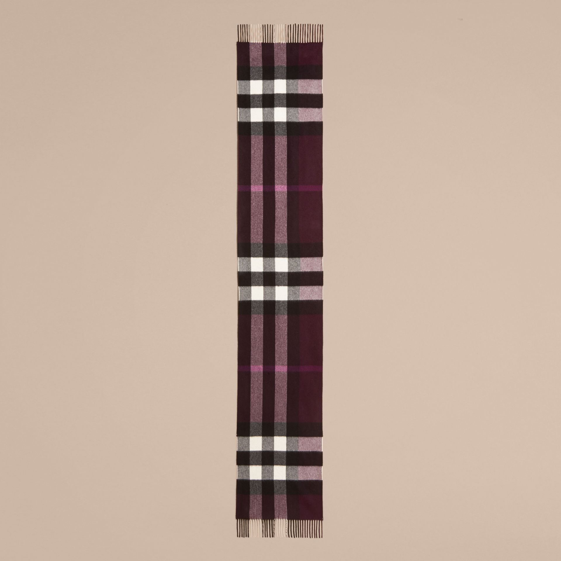 The Large Classic Cashmere Scarf in Check Aubergine - gallery image 5